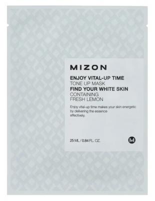 Тканевая маска осветляющая MIZON Enjoy Vital Up Time Tone Up Mask 25мл: фото
