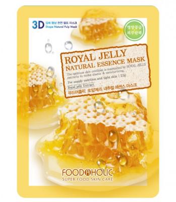 Тканевая 3D маска с экстрактом пчелиного маточного молочка FoodaHolic Royal Jelly Natural Essence Mask 23мл: фото