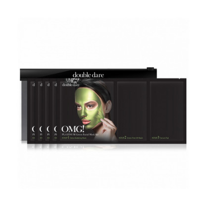 Трехкомпонентный комплекс масок УВЛАЖНЕНИЕ И СЕБОКОНТРОЛЬ Double Dare OMG! Platinum Green Facial Mask 5шт: фото