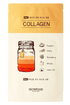 Маска тканевая Коллаген SKINFOOD Boosting Juice 2-step Mask Sheet COLLAGEN 23мл: фото