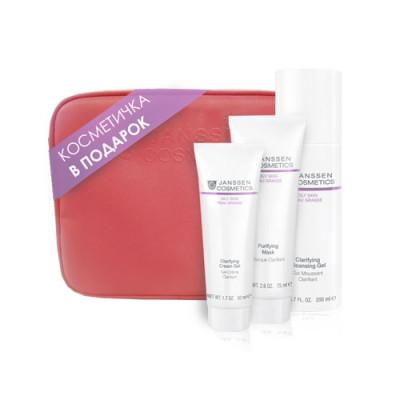 Набор подарочный Безупречность Janssen Cosmetics Oily skin в розовой фирменной косметичке: фото