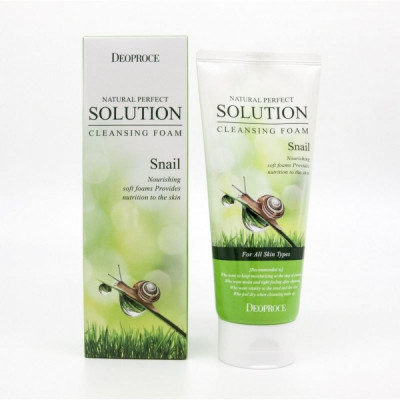 Пенка для умывания улиточная DEOPROCE NATURAL PERFECT SOLUTION CLEANSING FOAM SNAIL 170г: фото