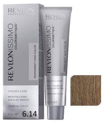 Краска перманентная Revlon Professional Revlonissimo Colorsmetique 6.14 Темный Блондин Пепельно-Медный 60мл: фото