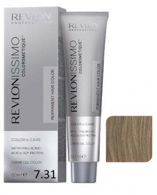Краска перманентная Revlon Professional Revlonissimo Colorsmetique 7.31 Блондин Золотисто-Пепельный 60мл: фото