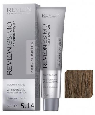 Краска перманентная Revlon Professional Revlonissimo Colorsmetique 5.14 Светло-Коричневый Пепельно-Медный 60мл: фото
