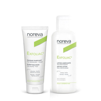 Набор для проблемной кожи NOREVA EXFOLIAC: Лосьон с высоким содержанием АНА 125мл+Очищающая маска 50мл-30% на маску: фото
