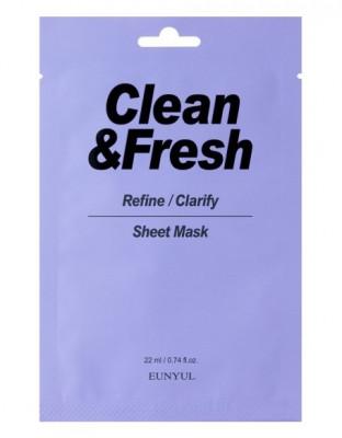 Тканевая маска для выравнивания тона и рельефа лица EUNYUL CLEAN & FRESH REFINE-CLARIFY SHEET MASK 22мл: фото