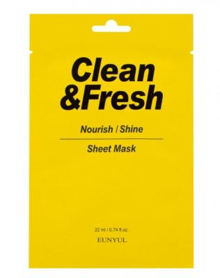 Тканевая маска для питания и сияния кожи EUNYUL CLEAN & FRESH NOURISH-SHINE SHEET MASK 22мл: фото