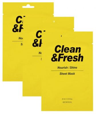 Набор тканевых масок для питания и сияния кожи EUNYUL CLEAN & FRESH NOURISH-SHINE SHEET MASK 22мл*3: фото
