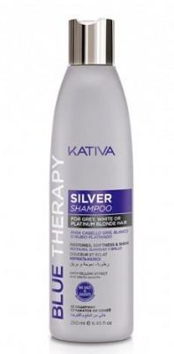Шампунь нейтрализатор желтизны для осветленных и мелированных волос Kativa Blue Therapy 250мл: фото