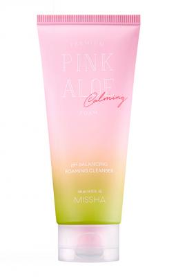 Пенка слабокислотная с Алоэ MISSHA Premium Pink Aloe pH Balancing Foaming Cleanser 140мл: фото